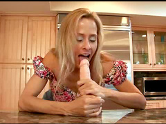 The milf bends over