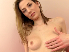 Nice beauty Claire Dain is putting her fingers in her hole