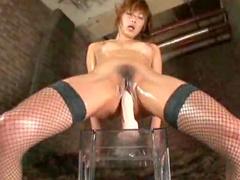 Horny Japanese dildo rider