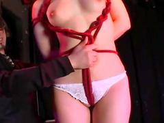 Bondage practice with Japanese submissive