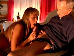 Blonde chick performs pony play and gets banged by a grandpa