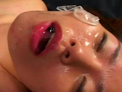 Sexy Asian loves to get cum over her face