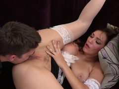 Brunette maid fingers her asshole while getting nailed