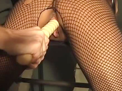 Buddy in black t-shirt is drilling her wet love tunnel