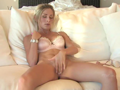 Girl in sexy bra toys