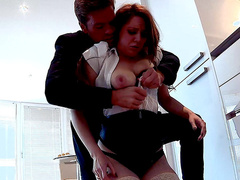 Office babe Samantha Bentley was fucked in the kitchen