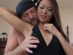 Asian deepthroat blowjob with cock riding