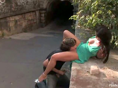 Slut fucked on public street