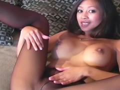 Asian stars in erotic pantyhose tease