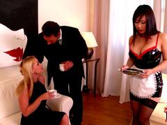 Kathia Nobili and Tigerr Benson is spanking their girlfriend