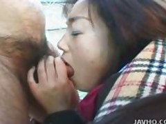 Shy Japanese Coed exhibs and fucked outdoor