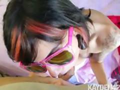 Emo girl sunglasses blowjob