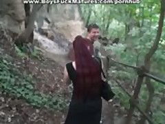 Russian mature in outdoor threesome party