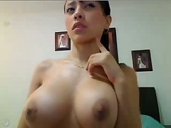 Shaking big young tits on webcam