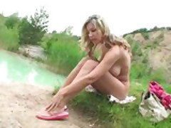 Carol Goldnerova masturbating on her trip to known lake