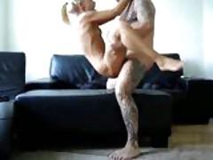 Blonde Gets Fucked By Tattooed Freak