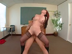 Fucking slut in stockings on a table