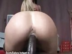 Jiggly White Booty Rides Black Cock