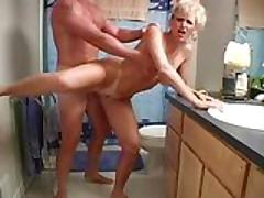 Mature blonde sex in the bathroom