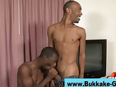 Black dude at mega blowjob gangbang