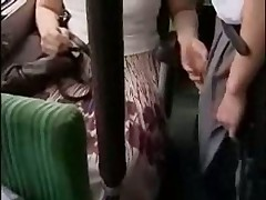 Japanese girl playing naughty on the bus