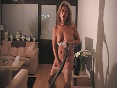 Granny Vacuums in Pantyhose