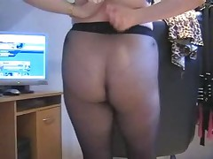 Cougar Secretary Slut In Black Pantyhose