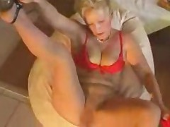 Mature sexy blonde in pantyhose