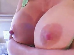 Normiss Nipples - Huge tits on kitchen