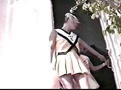 Two blonde teen pigtailed cheerleaders fucked