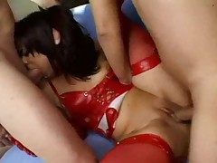 Girl in red leather fucked by two guys