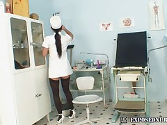 Nurse uniform wearing Sandra pussy masturbation at gyno