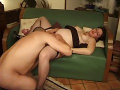 Horny pregnant Cheating Wife getting Cum from Young Lover