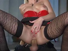Hot Blonde In Stockings Smoking, Sucking and Fucking