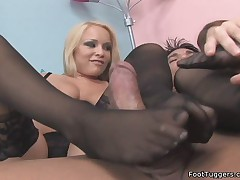 Footjob in Sexy Stockings