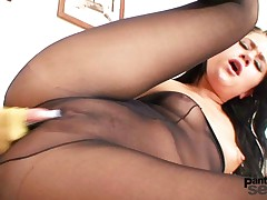 Hot chick got nylon pantyhose covered tits