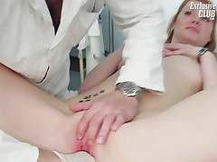 Helga gyno pussy speculum examination on gynochair at kinky