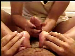 Oily Handjob Footjob on Bathroom Floor