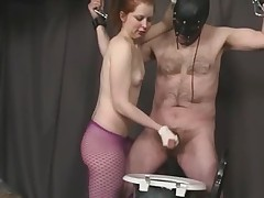 Pink pantyhose gloved cum extraction