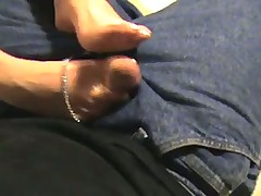 Amateur gives footjob to her boyfriend