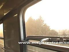 Public sex by hot amateur-slut in a train