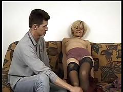 Little Granny in Stockings Fucks