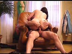 French brunette with oldman