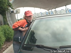 Mature picked up on gas station