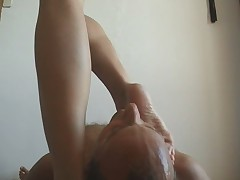 Facesitting the husband with Buttplug