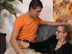 Granny In Fishnets Takes A Big Boner !