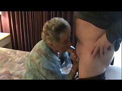 Granny in White Stockings Loves the Taste of Semen