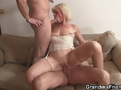 Lonely granny needs two fresh cocks
