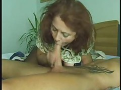 Blowjob Granny in Stockings Gets the Boy