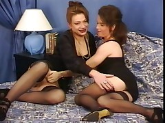 French lesbians fuck on the bed